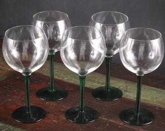 Green Stem Wine Glasses