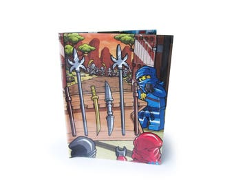 Book Cover - with Notebook - Upcycled LEGO Ninjago Comic in Vinyl