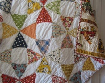 American Jane Vintage Look Circle Quilt.............A Fray Edge Quilt.....Ready to Ship