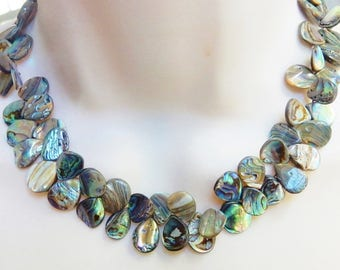 Natural  Abalone shel teardrop zigzag briolette beads ,