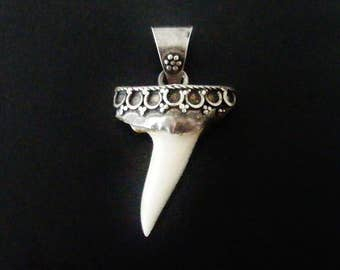 Vintage sterling silver and real shark's tooth pendant