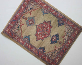Miniature Dollhouse Rug in Tan Red and Blue 1:12 Scale