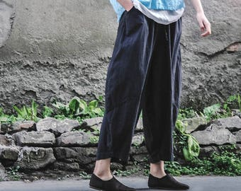 Ethnic Style Narrow Ankle Women's/ Patchwork Elastic Waist Linen Pants/  Harem Pants/ Any Size/ 15 Colors/ RAMIES