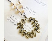30% OFF CHRISTMAS SALE Bronze laurel wreath, pearl, and chain statement necklace, long necklace, Champion of Art