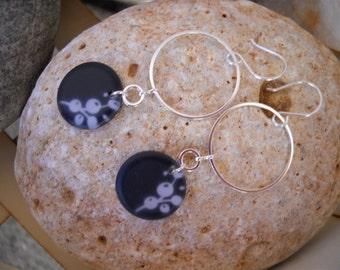 Silver and Black Resin Flower Pendant Dangle Earrings
