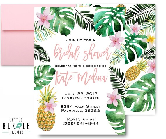 Tropical Bridal Shower: TROPICAL BRIDAL SHOWER Invitation Pineapple Bridal Shower