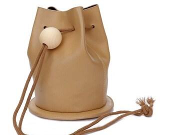 Khaki Pompom Bucket Bag Woman Shoulder Basic Bag Synthetic Leather