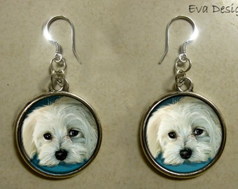 MALTESE DOG EARRINGS blue handcrafted handmade silver plated rround charm dangle pet art gift