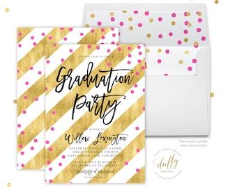 Graduation Party Invitation, College Graduation Invites, High School Graduation, Gold & Pink Party Invitation, Graduation Party Invites
