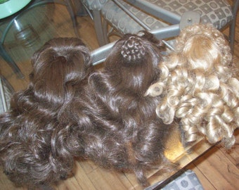 Vintage Doll Wigs Lot of 3 Long Hair Blonde Curly