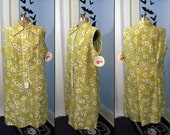 NOS Vintage 60s 70s Womens Plus Size Dress Abstract Floral Collar Dress A Line Button Front Shift Mad Men Style