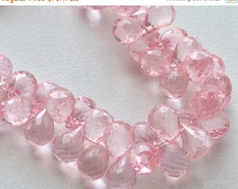 ON SALE 55% Crystal Quartz, Coated Crystal Bead, Micro Faceted Tear Drop Briolette, Rose Pink Color, 7x11mm Beads, 48 Pieces Approx, 8 Inch