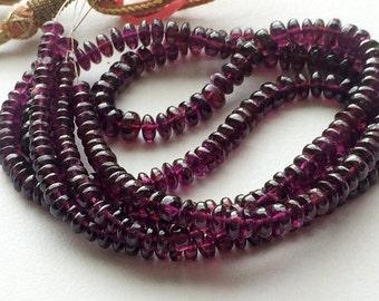 Garnet Rondelle Beads, Natural Garnet Plain Smooth Rondlles, Garnet Necklace, 4-6.5mm, 16 Inch, 135 Pcs - VCA35