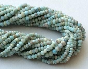 Larimar Beads, Natural Larimar Faceted Rondelle, Original Larimar, Tiny Beads, Larimar Necklace, 3.5-4mm, 6.5 Inch - GSA47
