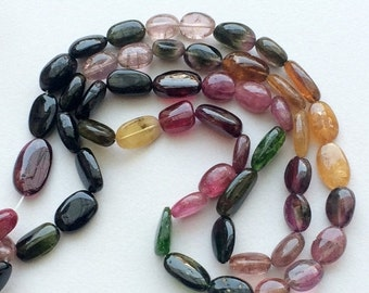 ON SALE 55% Multi Tourmaline Plain Oval Beads, Aaa Multi Tourmaline Tumbles, Tourmaline Necklace, 12x7mm To 9x7mm, 10 Inch Strand