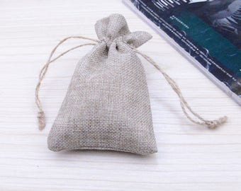 Free shipping -- 4 small linen bags, jewelry bags, cotton favor bag, gift bag linen Natural linen gift bags for jewelry 3.6''x 5.75''