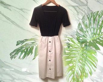 80s Black White Minimal Crisp Gamine Audrey Hepburn Style Dress size Medium