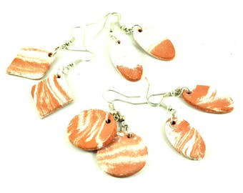Handmade Diffuser Earrings Ceramic Jewellery Round, Oval or Diamond on Silver plated Earwires Orange Tangerine Brown & White Marbled Rustic