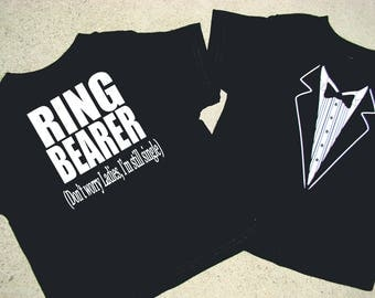 Ring Bearer shirt Tuxedo - RING BEARER (Don't worry ladies, I'm still single) Child size Tux shirt- Free US Shipping -Ringbearer gift