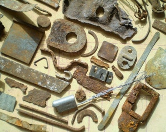 66 Rusty Metal Pieces - Found Objects for Assemblage, Jewelry or Altered Art - Salvaged Supplies