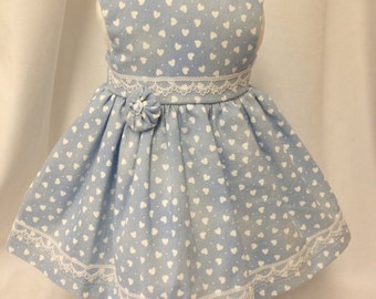 Blue Dress with Lots of White Hearts and White Lace made to fit American Girl Dolls