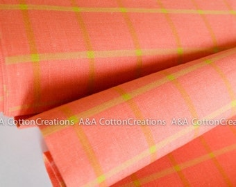 ORGANIC Coral Plaid Cotton Fabric, Quilting Fabric, Yarn Dye Fabric, Apparel Fabric, Window Dressing Collection from Cloud9 Fabrics
