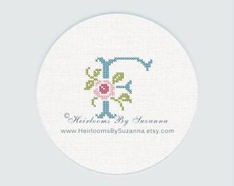 "Antique Rose Monogram, Machine Cross Stitch Initial, Floral Font, Machine Embroidery, Decorative Font, Block Letter ""F"" - HBS-ROSEMNGR-F"