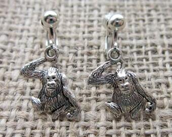 Orangutan Dangle Silver Clip On Earrings - Orangutans Great Apes The Librarian drops