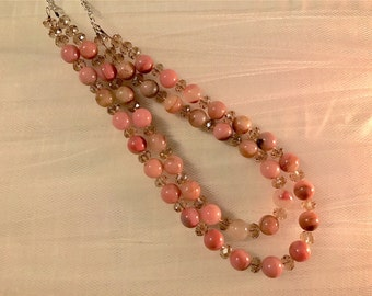 Pinkish-Double Strand Round Stones and Faceted Crystalsl Hand Beaded Necklace.