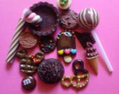 Kawaii chocolate sweets cabochon decoden deco diy charm mix  15 pcs  # 447--USA seller