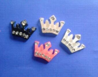 Kawaii crown with rhinestone cabochons   4 pcs---USA seller