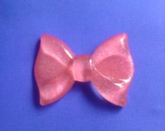 Kawaii BIG hot pink bow cabochon---USA seller