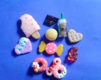 Sale---Kawaii cabochon decoden deco diy sweets 10 pcs  #SP22---USA seller