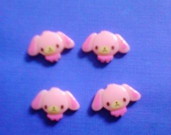 Kawaii long eared pink doggie cabochons decoden deco diy charms  4 pcs