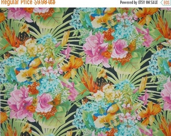 ON SALE Colorful Tropical Bouquet Print Pure Cotton Fabric-One Yard