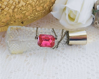 Dark Rose Necklace, Art Deco Necklace, Pink Choker Necklace, Old Hollywood, Vintage Glass Rhinestone Necklace, Estate Jewelry, Vintage Pink