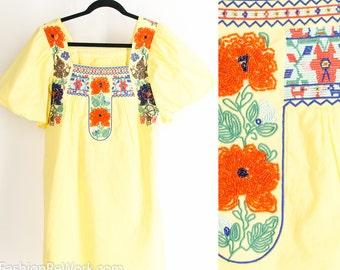 Vintage Ethnic Yellow Mini Dress Embroidered Beaded Cotton Shift Dress Folk Dress Festival Dress Hippie Dress Bohemian Dress Small Medium