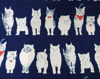 """We love cats - 1 yard - cotton linen - 4 colors ,animal,cat fabric ,Check out with code """"5YEAR"""" to save 20% off"""