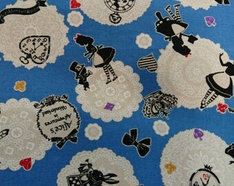 """2017 Alice wonderland and lace - 1 yard - cotton linen - 3 colors - Fairy tale ,sewing , Check out with code """"5YEAR"""" to save 20% off"""