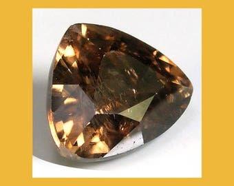ZIRCON (33820) * * *   Gorgeous Burnt Gold Zircon 8mm Round Zircon from Tanzania - Faceted