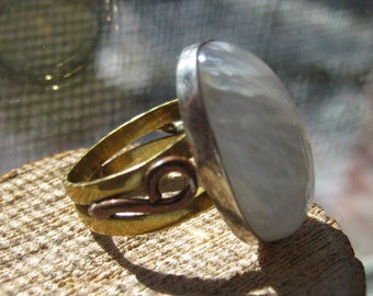 Vintage Sterling Silver with Copper and Brass Band Women's Moonstone Ring Ladies Size 5