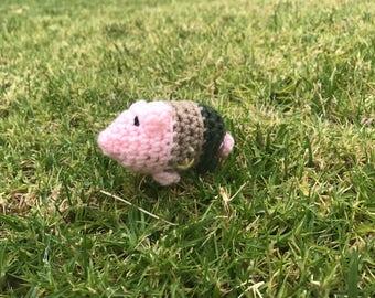 Crochet Pig Deputy Sheriff Christmas Ornament Pink Amigurumi Stuffed Animal