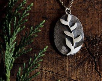 Spring sale Leafy necklace in reclaimed sterling silver