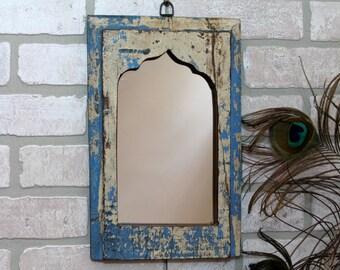 Mirror Reclaimed Vintage Indian Door Panel Wall Hanging Art Distressed Mirror Moroccan Decor Turkish Jersey Blue