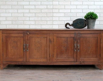 Reclaimed Antique Long and Low Sideboard Media Console Industrial Cabinet Teak Wood Sideboard Buffet Media Console Mudroom Bench