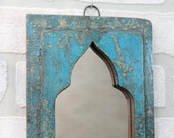 Small Mirror Moroccan Mirror Accent Mirror Vintage Wood Peacock Blue Mirror Wall Mirror Moroccan Decor Turkish Interior Boho Style