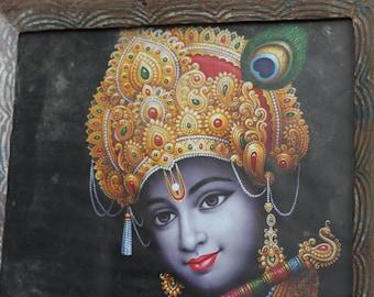 Krishna With Flute Vintage Framed Print Indian Hindu Deity Bohemian Decor Wall Poster Religious Art