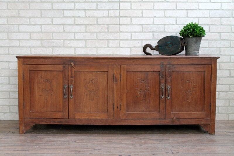 Vintage Long And Low Sideboard Teak Wood Media Console