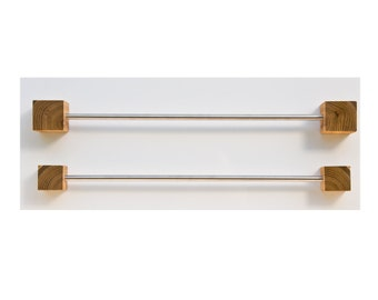 Stainless Steel Towel Rail with Wooden Cubes / Magnetic Towel Rack /  Bathroom Towel Holder ADRIAN