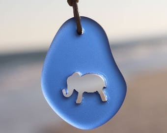 Carved Elephant Sea Glass Necklace Choose your Color Style by Wave of Life™